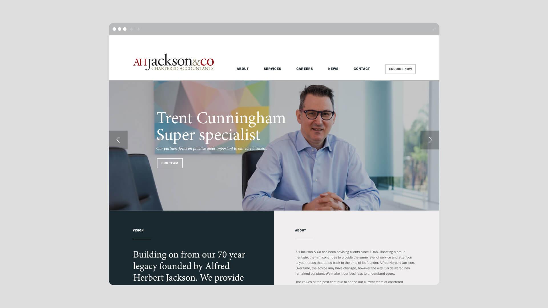 AH Jackson Home Page Website Design