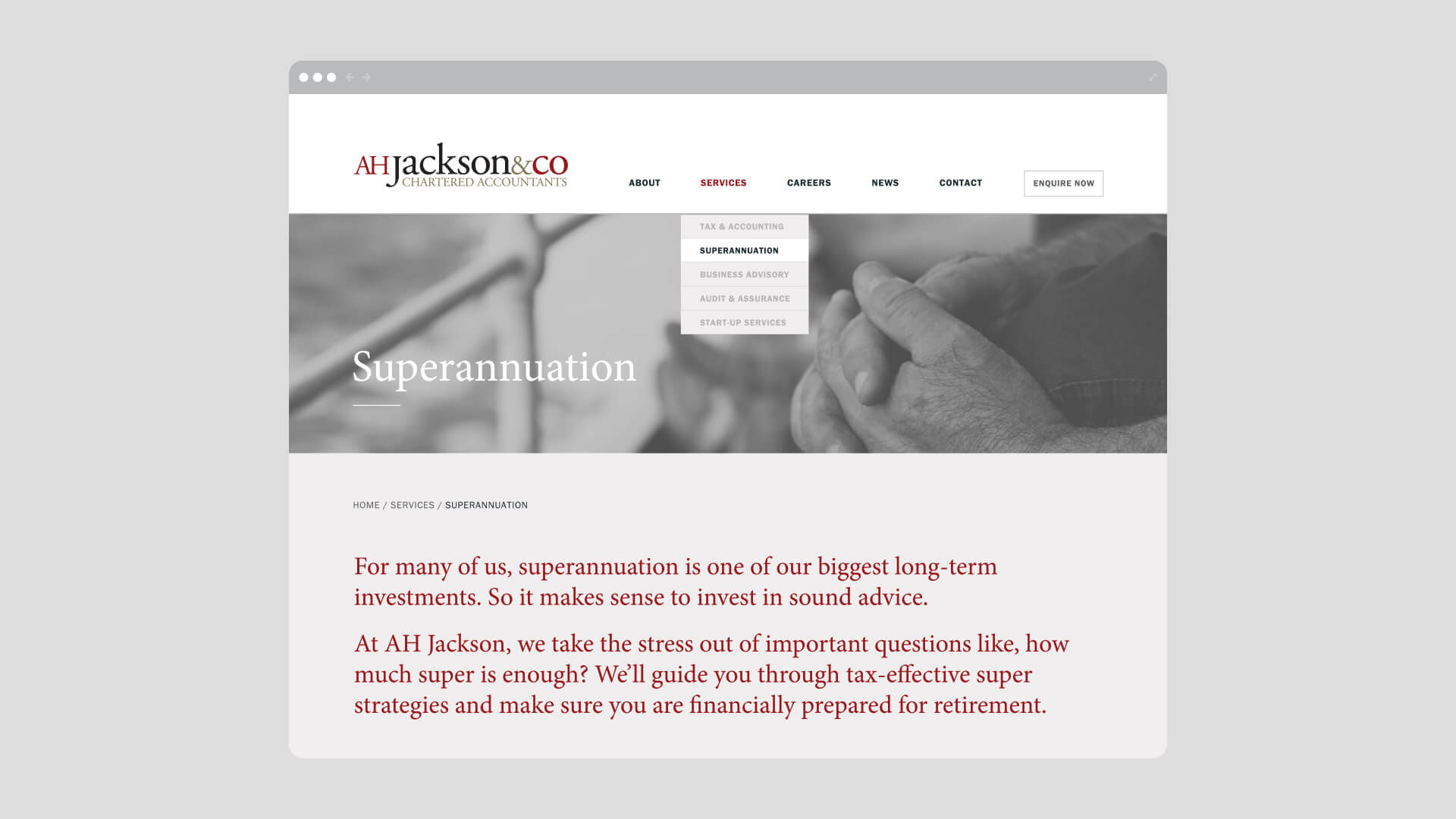 AH Jackson Superannuation Page
